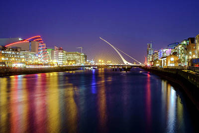 River Liffey In Dublin At Dusk Poster