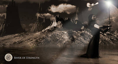 Poster featuring the digital art River Of Strength by Everett Houser