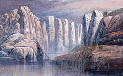 River Pass Between Barren Rock Cliffs Poster