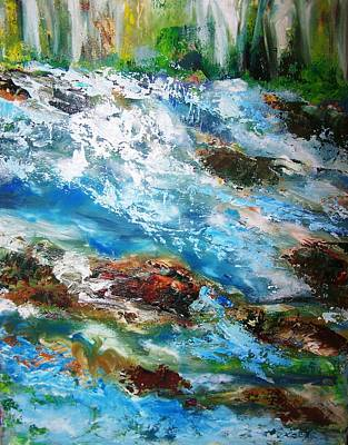 River Rapids With Falling Water Poster
