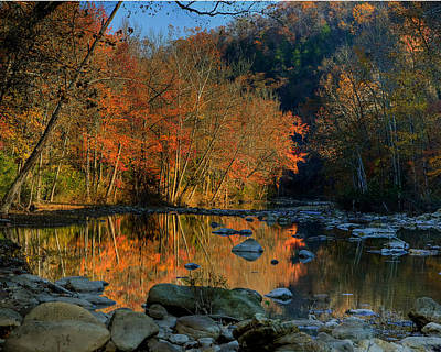 River Reflection Buffalo National River At Ponca Poster by Michael Dougherty