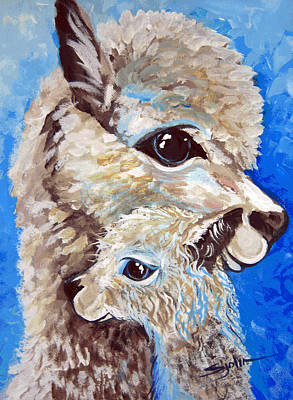 Poster featuring the painting River Ridge Alpaca by Patty Sjolin