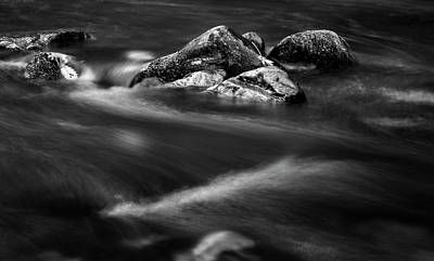 River Rock In Black And White Poster