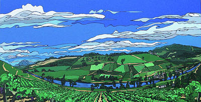 Poster featuring the painting River Valley Vineyard by John Gibbs