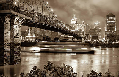 Riverboat On The Ohio River - Cincinnati Skyline In Sepia Poster by Gregory Ballos