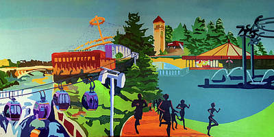 Riverfront Park In Color Poster by Tracy Dupuis Roland