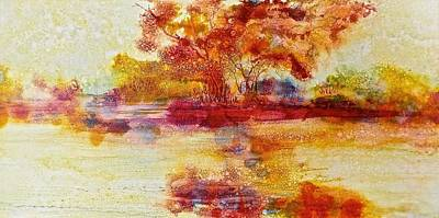Riverscape In Red Poster by Carolyn Rosenberger
