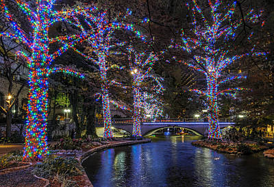 Poster featuring the photograph Riverwalk Christmas by Steven Sparks