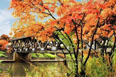 Poster featuring the painting Riverwalk Covered Bridge by Christopher Arndt