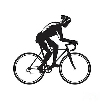 Road Cyclist Racing Woodcut Poster by Aloysius Patrimonio