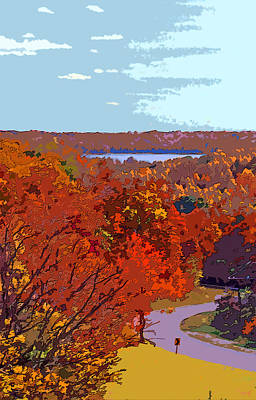 Road In Autumn Near Lake Monroe In Image Poster by Paul Price