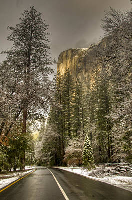 Road To El Capitan After Snow Storm At Sunrise Poster