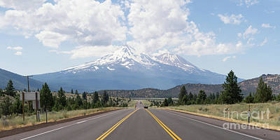 Poster featuring the photograph Road To Mt Shasta California Dsc5048 Panorama by Wingsdomain Art and Photography