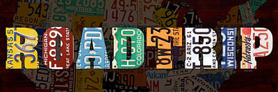 Road Trip Usa Map Recycled Vintage License Plate Lettering Phrase Poster
