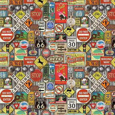 Roads Signs On Steel-jp3959-b Poster by Jean Plout