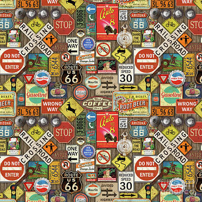 Roads Signs On Wood-jp3958-b Poster by Jean Plout