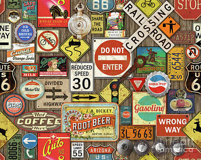 Roads Signs On Wood-jp3958 Poster by Jean Plout