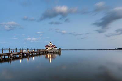 Roanoke Marshes Obx Lighthouse Blue Hour Dusk Poster by Mark VanDyke