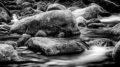 Roaring Fork Mossy Rock - Classic Bw Poster by Stephen Stookey