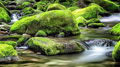 Roaring Fork Mossy Rocks Poster by Stephen Stookey