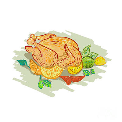 Roast Chicken Vegetables Drawing Poster