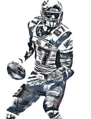 Rob Gronkowski New England Patriots Pixel Art 2 Poster by Joe Hamilton