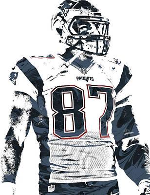 Rob Gronkowski New England Patriots Pixel Art 3 Poster by Joe Hamilton