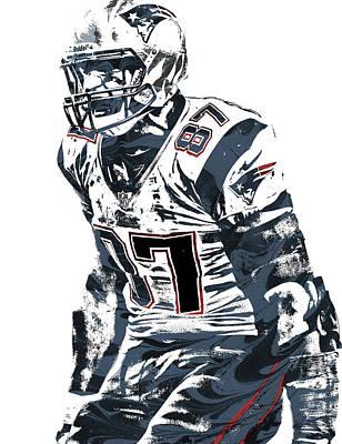 Rob Gronkowski New England Patriots Pixel Art 4 Poster by Joe Hamilton