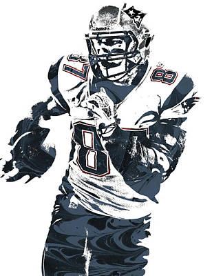 Rob Gronkowski New England Patriots Pixel Art 5 Poster by Joe Hamilton