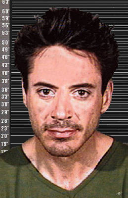 Robert Downey Jr Mug Shot 2001 Color Long Poster by Tony Rubino