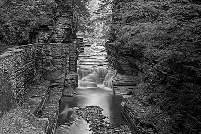 Robert H. Treman State Park Canal 2 Ithaca Ny Black And White Poster by Toby McGuire