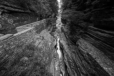 Robert H. Treman State Park Canal Ithaca Ny Black And White Poster by Toby McGuire