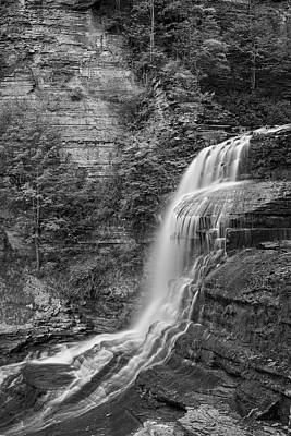 Robert H. Treman State Park Flowing Water Ithaca Ny Black And White Poster by Toby McGuire