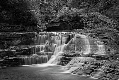 Robert H. Treman State Park Pathways Ithaca Ny Black And White Poster by Toby McGuire