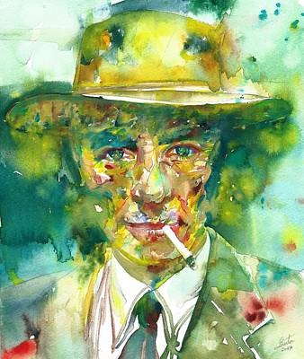 Poster featuring the painting Robert Oppenheimer - Watercolor Portrait.2 by Fabrizio Cassetta