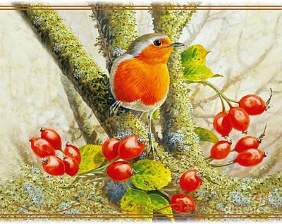 Robin Autumn Poster by John Francis