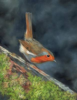 Poster featuring the painting Robin by David Stribbling