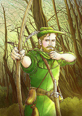 Robin  Hood In Sherwood Forest Poster by Reynold Jay