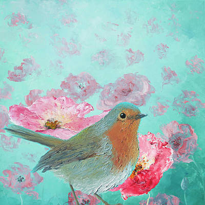 Robin In A Field Of Poppies Poster