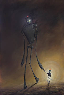 Robot Father And Son Poster by Austin Howlett