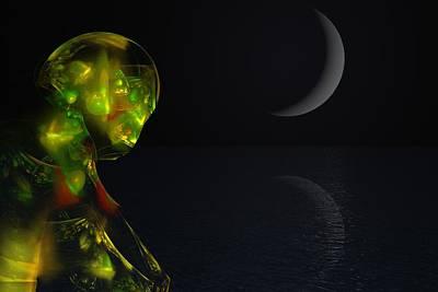 Robot Moonlight Serenade Poster by David Lane