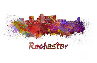 Rochester Mn Skyline In Watercolor Poster by Pablo Romero