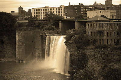 Poster featuring the photograph Rochester, New York - High Falls 2 Sepia by Frank Romeo