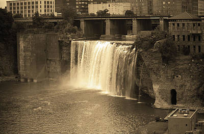 Poster featuring the photograph Rochester, New York - High Falls Sepia by Frank Romeo