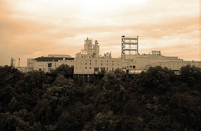 Poster featuring the photograph Rochester, Ny - Factory On A Hill Sepia by Frank Romeo