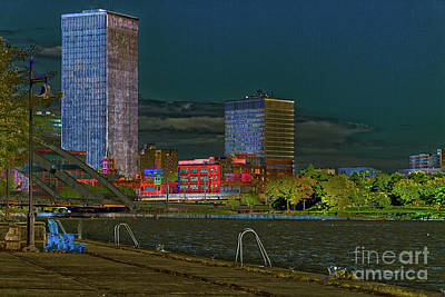 Rochester Riverfront At Night Poster by William Norton