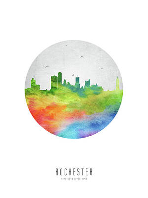Rochester Skyline Usnyro20 Poster by Aged Pixel