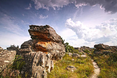 Rock And Sky Landscape Photograph With Footpath At Kaapsehoop Poster by Jan Van der Westhuizen