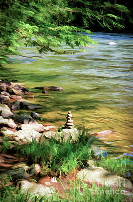 Rock Cairn Along The Bluestone River Poster