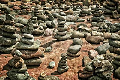 Rock Cairns At Buddha Beach - Sedona Poster by Jennifer Rondinelli Reilly - Fine Art Photography